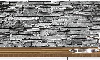 KLINOO Küchenrückwand in Steinoptik als Spritzschutz - Wandschutz - alle Untergründe verdeckt Fugen - zuschneidbar/erweiterbar - geruchsneutral - wiederablösbar - 97cm x 68cm Naturstein grau