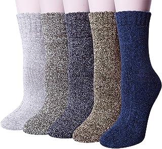 5 Pares de Calcetines Térmicos Mujer, Calcetines Termicos Invierno Grueso Antideslizante de Lana para Mujeres