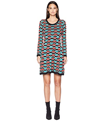 M Missoni Checker Ripple Long Sleeve Dress (Ivory) Women