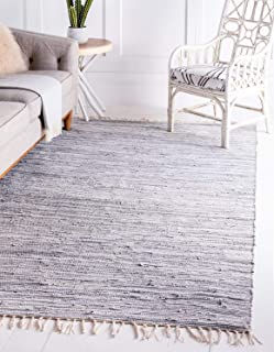 Unique Loom Chindi Cotton Collection Hand Woven Natural Fibers Gray Area Rug (9' 0 x 12' 0)