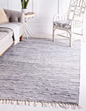 Unique Loom Chindi Cotton Collection Hand Woven Natural Fibers Gray Area Rug (8' 0 x 10' 0)