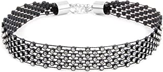 MHZ JEWELS Rhinestone Collar Choker 4-Row Wide Vintage Crystal Choker Necklaces for Women Girls, White and Black