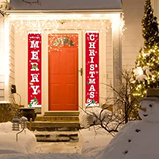 Christmas Porch Sign, Welcome and Merry Christmas Hanging Banners for Holiday Party Home Indoor Outdoor Porch Wall Christmas Decoration