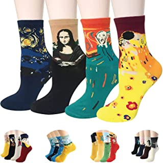 Womens Art Patterned Casual Socks - Famous Painting Collection, Fuzzy & Funny | Gift Under $20