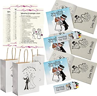 Wedding Activities for Kids - Individually Packaged Wedding Coloring Books and Crayons (12), Wedding Favor Bags (12) and Wedding Scavenger Hunt Sheets (25)
