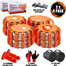 Promondi 8 Pack LED Road Flares Set - Roadside Emergency Safety Light - Rescue Beacon Lights for Car Boat Marine Vehicles - Discs & Batteries & Gloves & Hammer & Bag