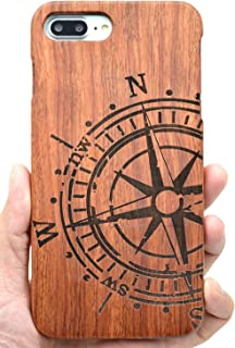 VolksRose iPhone 8 Plus Wooden Case - Rosewood Compass - Premium Quality Natural Wooden Case for Your Smartphone and Tablet