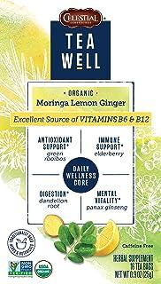 Teawell Organic Moringa Lemon Ginger Herbal Tea, 6 Count