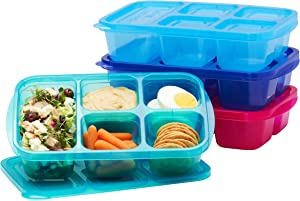 EasyLunchboxes - Bento Lunch Boxes - Reusable 5-Compartment Food Containers for School, Work, and Travel, Set of 4, (Jewel Brights)