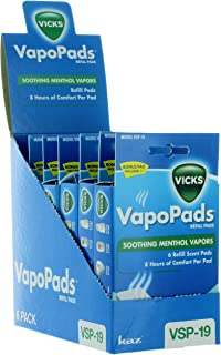 Vicks VapoPads Refill Scent Pads, Soothing Menthol Vapors (Case of 6)