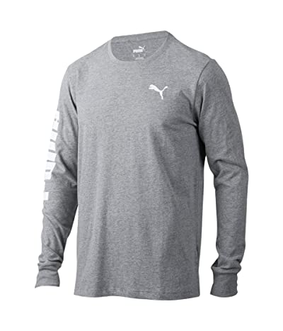 PUMA Classics Logo Long Sleeve Tee (Medium Gray Heather) Men