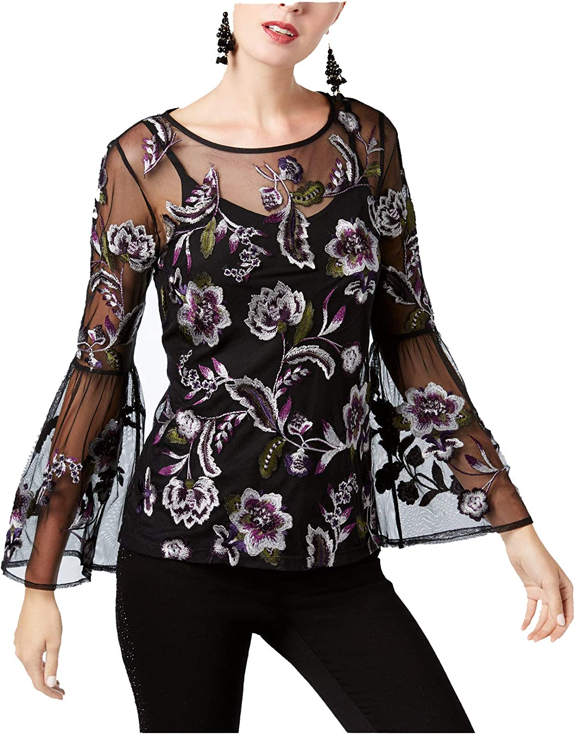 INC International Concepts Women's Embroidered Sheer BellSleeve Top