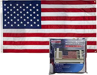 Valley Forge, American Flag Kit, Nylon, 3'x5', 100% Made in USA, Balcony Mounting Kit, Heavy Duty Brass Grommets, Fasteners (Nylon)