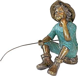 Design Toscano Fish Wish Fisherboy Garden Statue, Cast Bronze