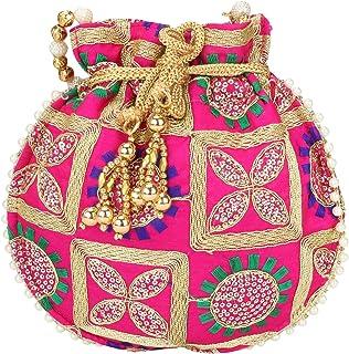 Jaipuriya New Potli Eye Catching Designer Embroidered Silk Potli with Pearl Holding