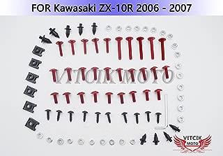 VITCIK Full Fairings Bolt Screw Kits for Kawasaki ZX-10R ZX10R Ninja 2006 2007 06 07 Motorcycle Fastener CNC Aluminium Clips (Red & Silver)