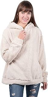 Brooklyn Cloth Women's Sherpa Fleece Hoodie Sweatshirt Half Zip Pullover