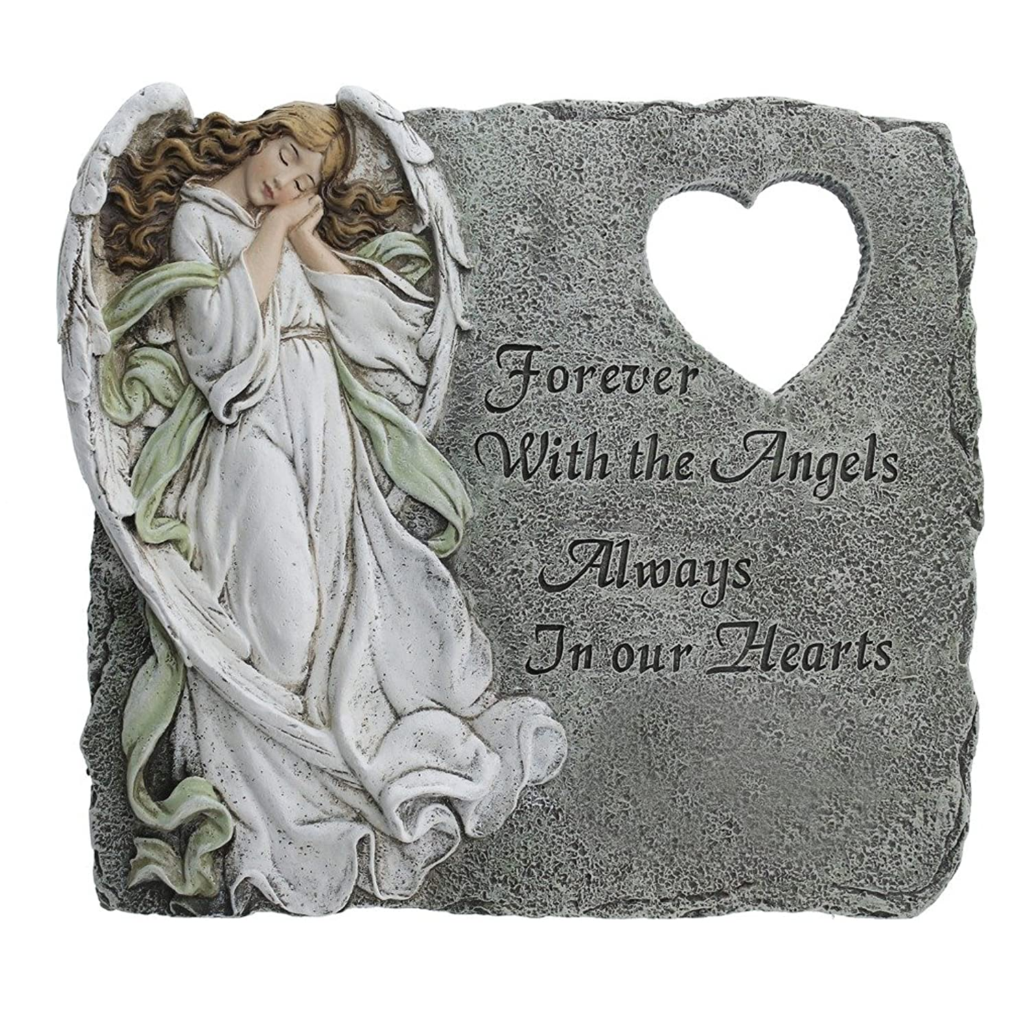Angel Memorial Heart Cutout Stepping Stone, 10 1/4 Inch