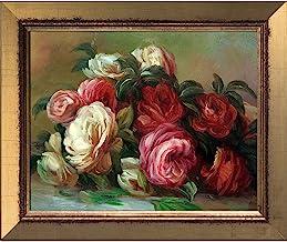زهور من متجر overstockArt La Pastiche يتم التخلص منها بواسطة Renoir اللوحة بإطار ذهبي لامع 1، مقاس صغير