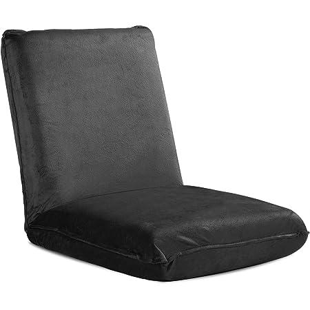 WLIVE 座椅子 フロアチェア ふあふあ 低反発ウレタン 分厚いクッション 42段階 リクライニング 触り心地良い 撥水加工 マイクロファイバー生地 耐荷重120kg 静電気防止 幅45cm ブラック ALSF603BL