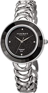 Great for Mother's Day - Akribos Crystal Bezel Glitter Dial Women's Watch – Round Faceted Crystals on Bezel, Glittery Face with Diamond Markers, Stainless Steel Link Bracelet - AK1088