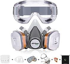 AirGearPro Kit Masque de Protection Respiratoire Réutilisable, Anti poussière, Anti gaz avec Filtres et Lunettes de Protec...