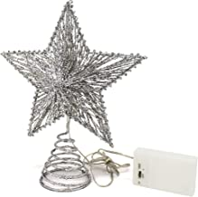 CVHOMEDECO. Silver Glittered 3D Tree Top Star with Warm White LED Lights and Timer for Christmas Tree Decoration and Holid...
