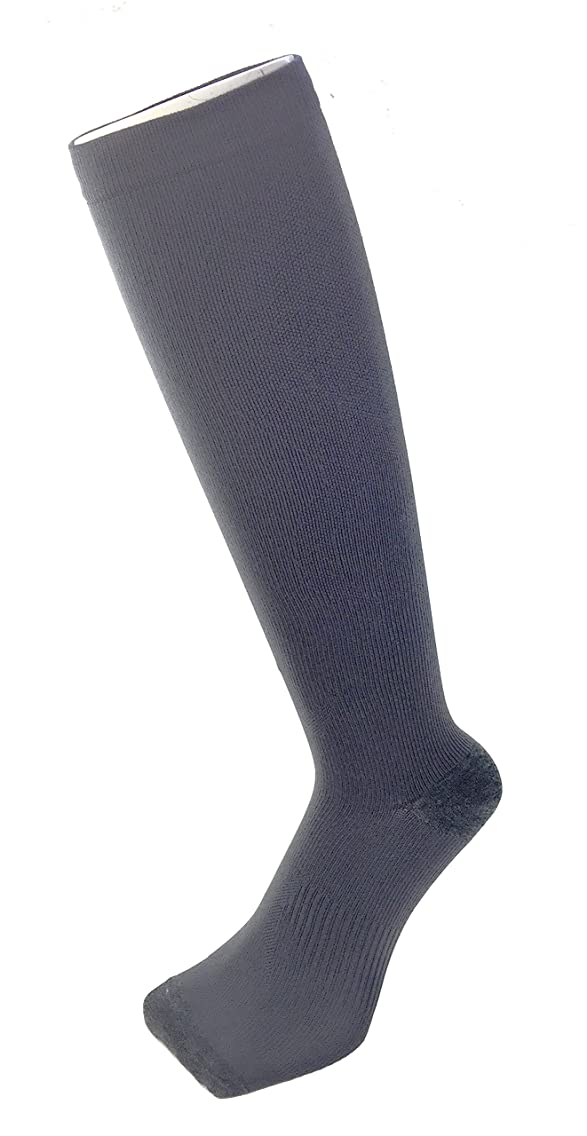 チャールズキージング鰐おじいちゃんPAX-ASIAN 紳士 メンズ 着圧靴下 ムクミ解消 締め付け サポート ハイソックス (抗菌加工) 1足組 #800 (チャコール)