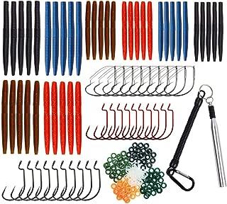 JSHANMEI Wacky Rig Worm Kit, Wacky Rig Tool, Wacky O-Rings, Wacky Jig Hooks, Plastic Soft Worms Baits Fishing Lures Tackle Kit