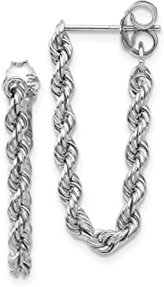 14k White Gold Twisted Rope Chain Dangle Post Earrings 24x10 mm