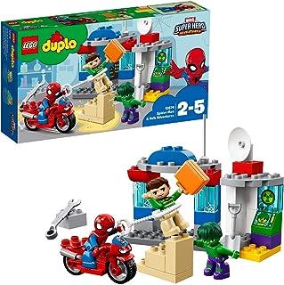 LEGO Duplo Super Heroes Man & Hulk Adventures, Juguete de construcción de Aventuras de Superhéroes, Incluye una Moto de Spider-Man (10876)