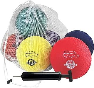 Champion Sports Playground Ball Set: Six Large Rhino Skin Soft Inflatable Balls for Kids Outdoor & Backyard Games, School & Gym Class