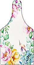 Lunarable Succulent Cutting Board, Nature Themed Framework with Floral Flourish Border and Little Hummingbird, Tempered Glass Serving Board, Wine Bottle Shape, Medium Size, Green Pink