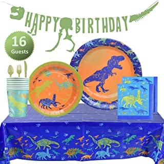 My Greca Dinosaur Party Supplies Set - Plates, Cups, Napkins, Happy Birthday Banner, Table Cover, Cutlery Kit - Serves 16 - Jurassic T-REX Dinosaur Themed Decorations for Boys