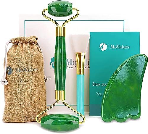 Original Jade Roller and Gua Sha Set - Jade Roller for Face - Face Roller: 100% Real Natural Jade - Face Massager, Fa...