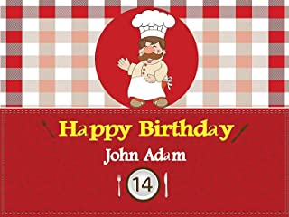 Custom Home Décor Cooking Birthday Poster, Personalized Baking, chef Red Gingham, Chef Pizza Party, Birthday Banner Wall Décor, Handmade Party Supply Poster Print Size 24x36, 48x24, 48x36