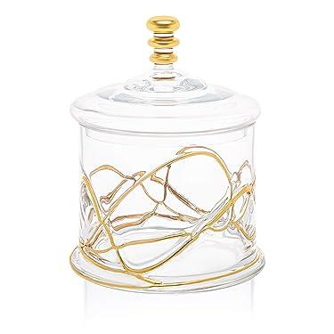"Glass Storage Cookie Jar and Glass Lid- 14 karat Gold Design on Jar- 8.5""H"