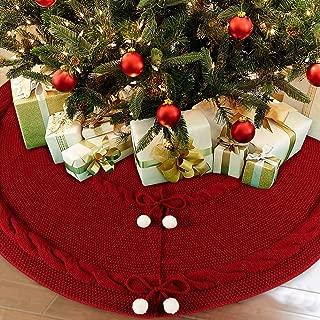 OurWarm Falda de árbol de Navidad de 48 Pulgadas, Color Rojo, Lujosa, Tejida, con Doble Capa, diseño rústico para Decoraciones navideñas, Falda Gruesa para árbol de Navidad
