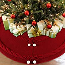 AerWo 48inch Deep Red Christmas Tree Skirt, Thick Luxury Knit Christmas Tree Skirt, Double Layers Rustic Christmas Tree Skirt Ornament with 6 Snowballs for Christmas Xmas Tree (5 ft to 7ft)