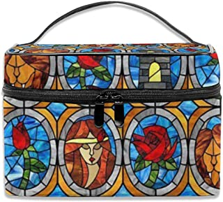 Portable Travel Makeup Cosmetic Bags Beauty And Beast Fairytale Glass Professional Toiletry Bag Organizer, Accessories Cas...