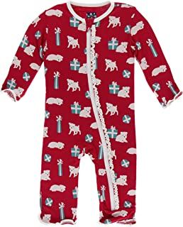 KicKee Pants Print Muffin Ruffle Coverall with Zipper (9-12 Months, Crimson Puppies and Presents)