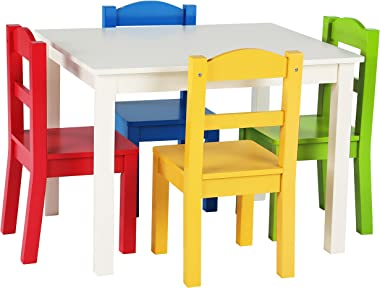 Humble Crew White/Primary Kids Wood Table & 4 Chair Set & Crew, White/Primary Kids Book Rack Storage Bookshelf