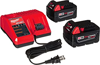 Milwaukee 48-59-1850 M18 RED LITHIUM XC 5.0 Ah Batteries (2) + 48-59-1812 M12 and M18 Multi Voltage Charger kit