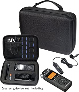 Professional Portable Recorder Case with DIY foam inlay for DR-05, DR-40, DR-22L, DR-100MKll, DR-1, Mini Tripod, Adapter, Mic Pop Windscreen, Smart accessory padding solution for SD cards, cabl