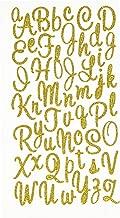 Homeford FVA000000GS105GD 56 41 Glitter Cursive Alphabet Letters Stickers, 1