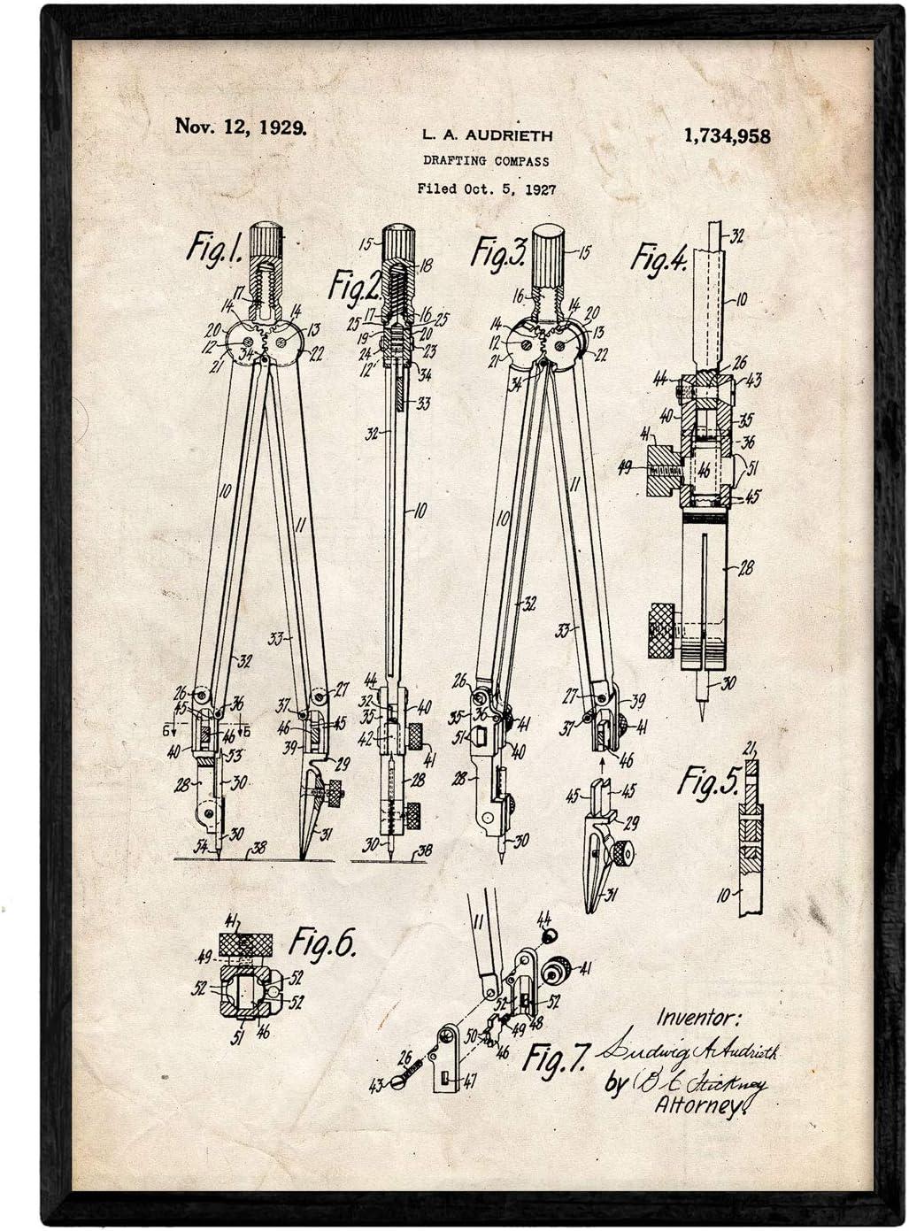 Nacnic Poster con patente de Compas. Lámina con diseño de patente antigua en tamaño A3 y con fondo vintage