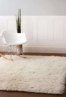 Super Area Rugs Wool Flokati Solid Shag Rug, 6' x 9', White