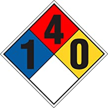 INDIGOS UG - Sticker - Safety - Warning - NFPA Diamond 1-4-0 152.4 mmx152.4 mm - Decal for Office - Company - School - Hotel