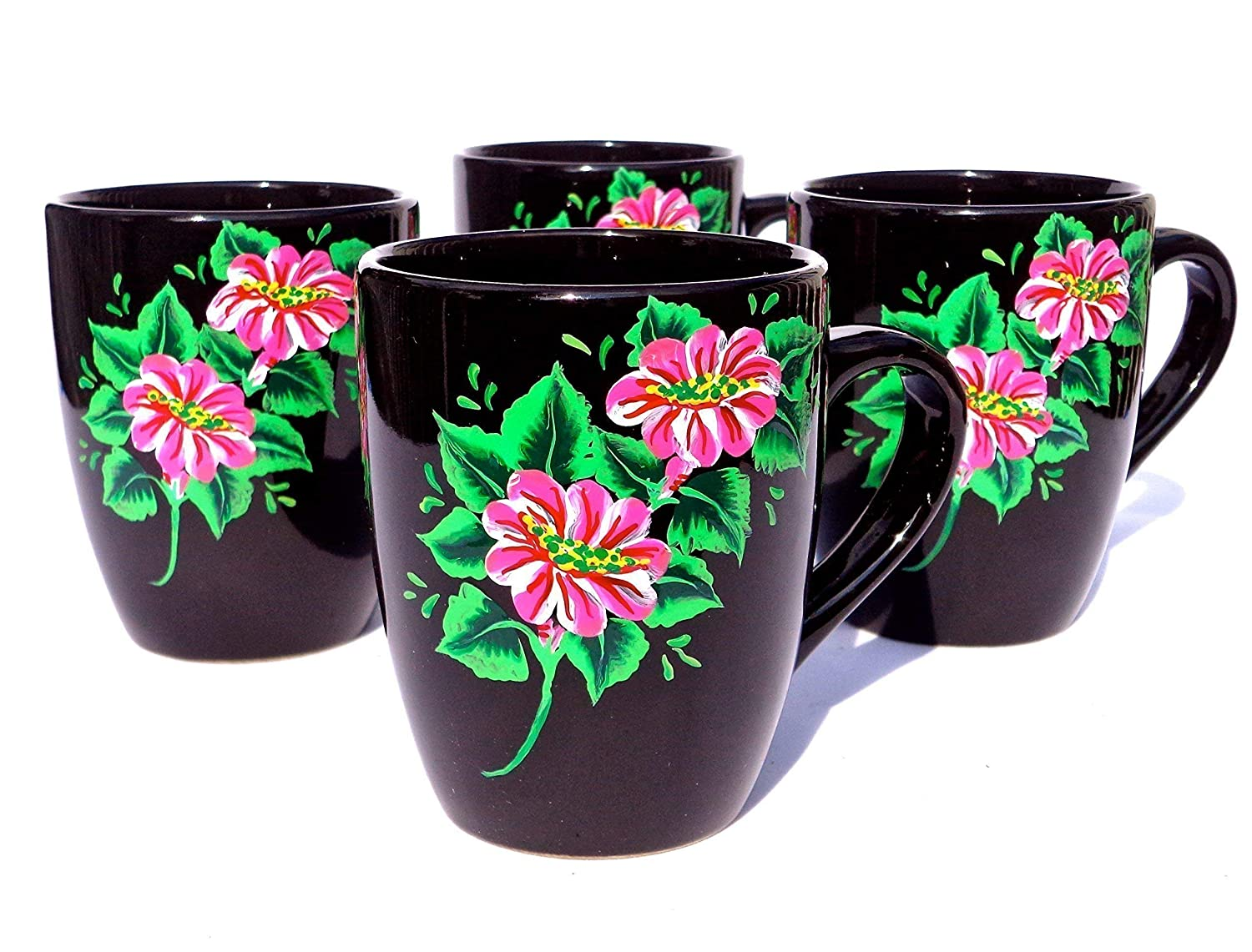 Max Houston Mall 84% OFF Coffee Mugs Hand Painted Black Cups Flowers White With and Pink