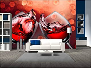 wall26 - Red Wine Glass Cheers with Wine Splash - Removable Wall Mural | Self-adhesive Large Wallpaper - 100x144 inches